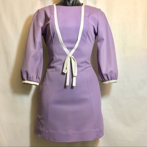 Vintage Mod Pheasant Shift Dress in Lilac Purple